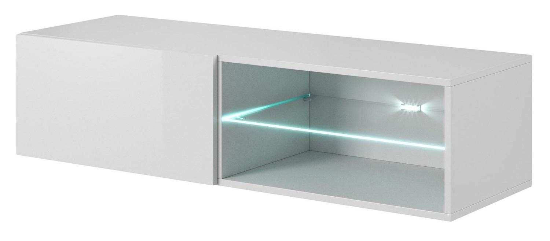 Tv-wandmeubel Livo 120 cm breed in wit met hoogglans wit | Home Style