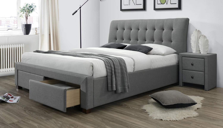 Tweepersoonsbed Percy 160x200cm in grijs   Home Style