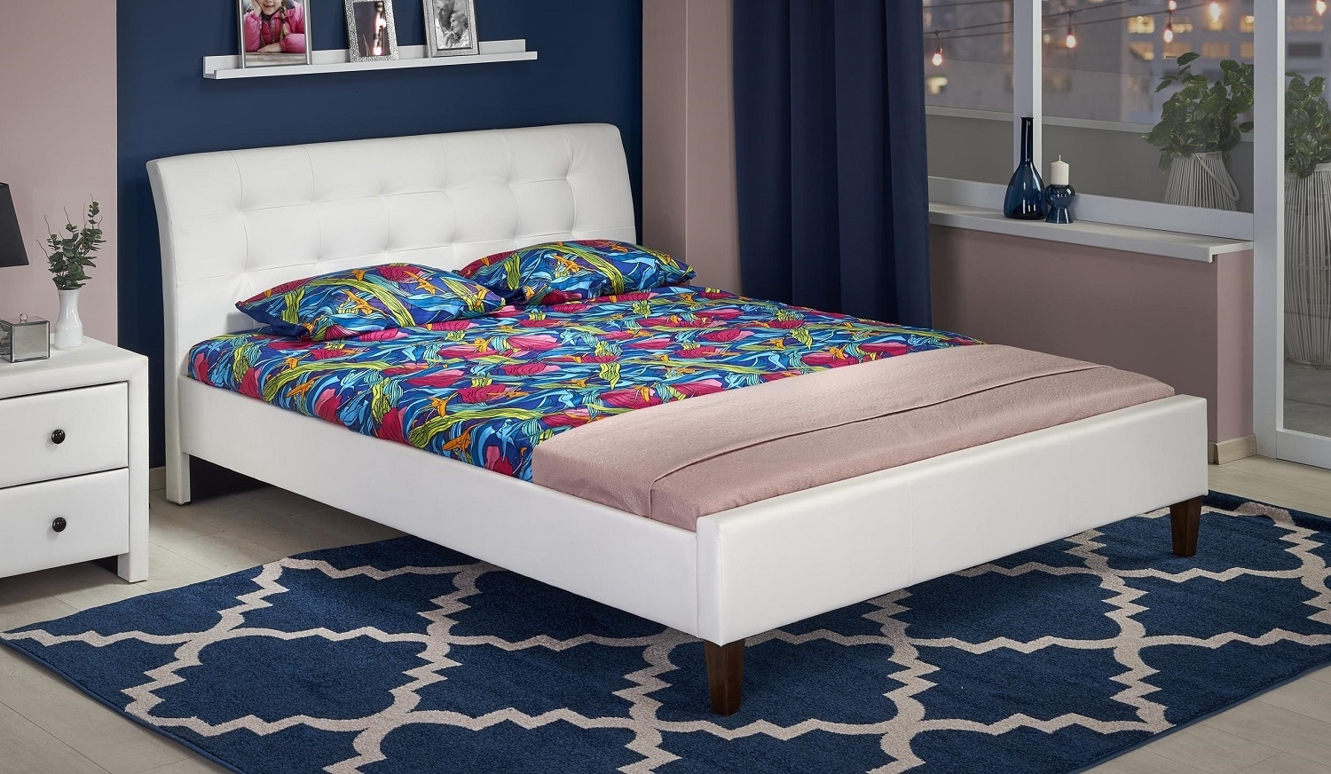 Tweepersoonsbed Samara 160x200cm in wit | Home Style