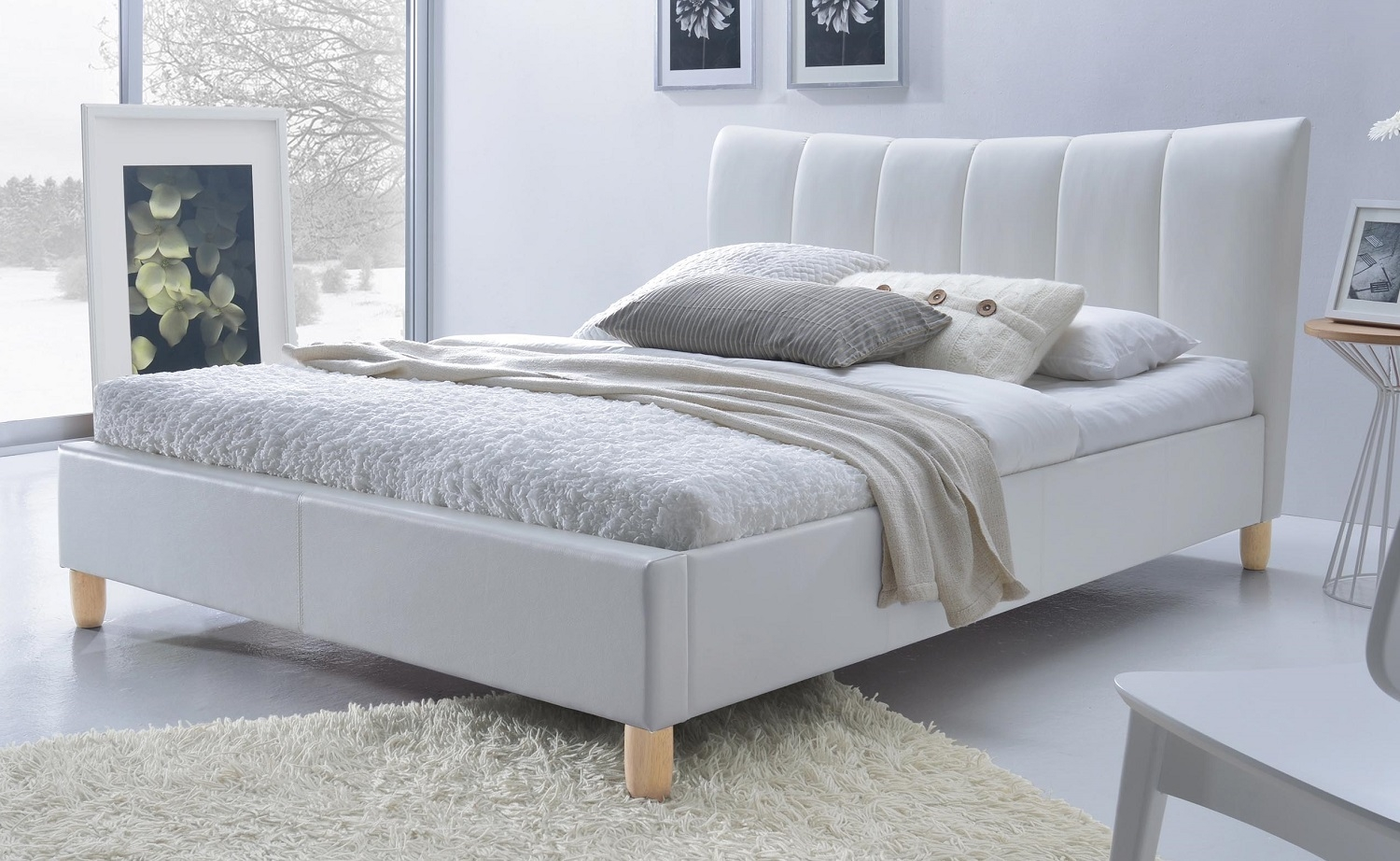 Tweepersoonsbed Sandy 160x200cm in wit | Home Style