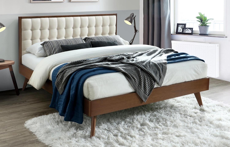 Tweepersoonsbed Solomo 160x200cm in walnoot met beige   Home Style