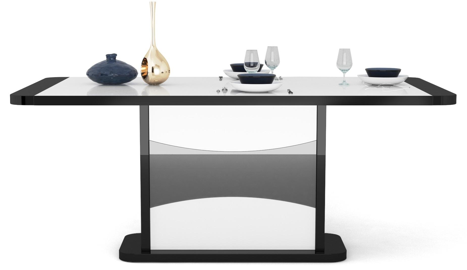 Uitschuifbare eettafel Tiago 180 tot 225cm breed hoogglans zwart met hoogglans wit | Ameubelment