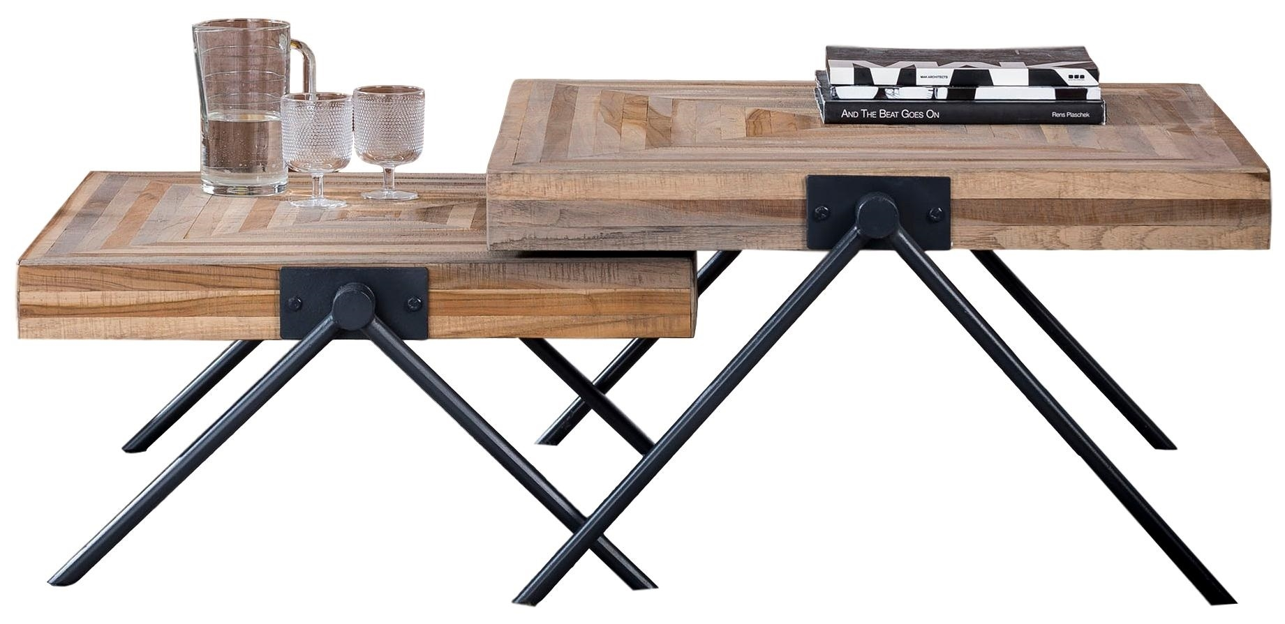 Vierkante salontafel Set Bella 33 en 43 cm hoog – Teakhout verweerd | Zaloni