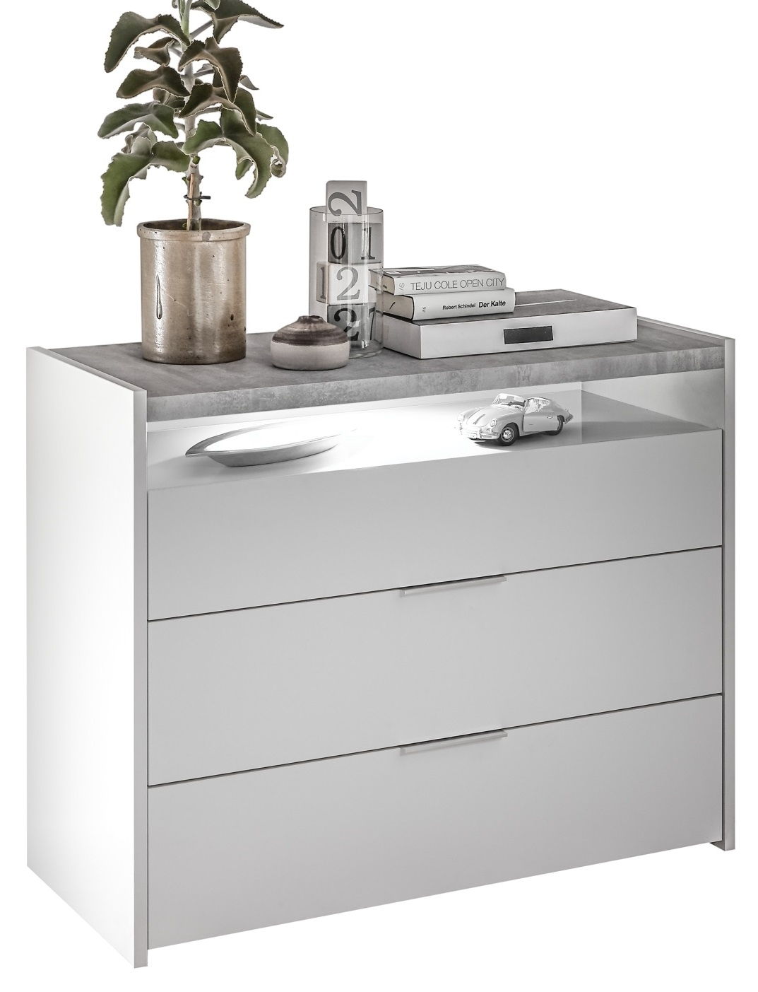 Commode Amalti 95 cm hoog in mat wit met grijs beton | Pesaro Mobilia