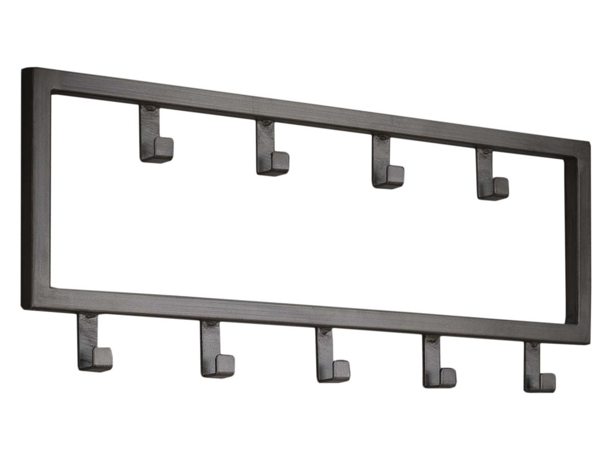 Kapstok Industrial van 50 cm breed met 9 haken – Zilver | Zaloni