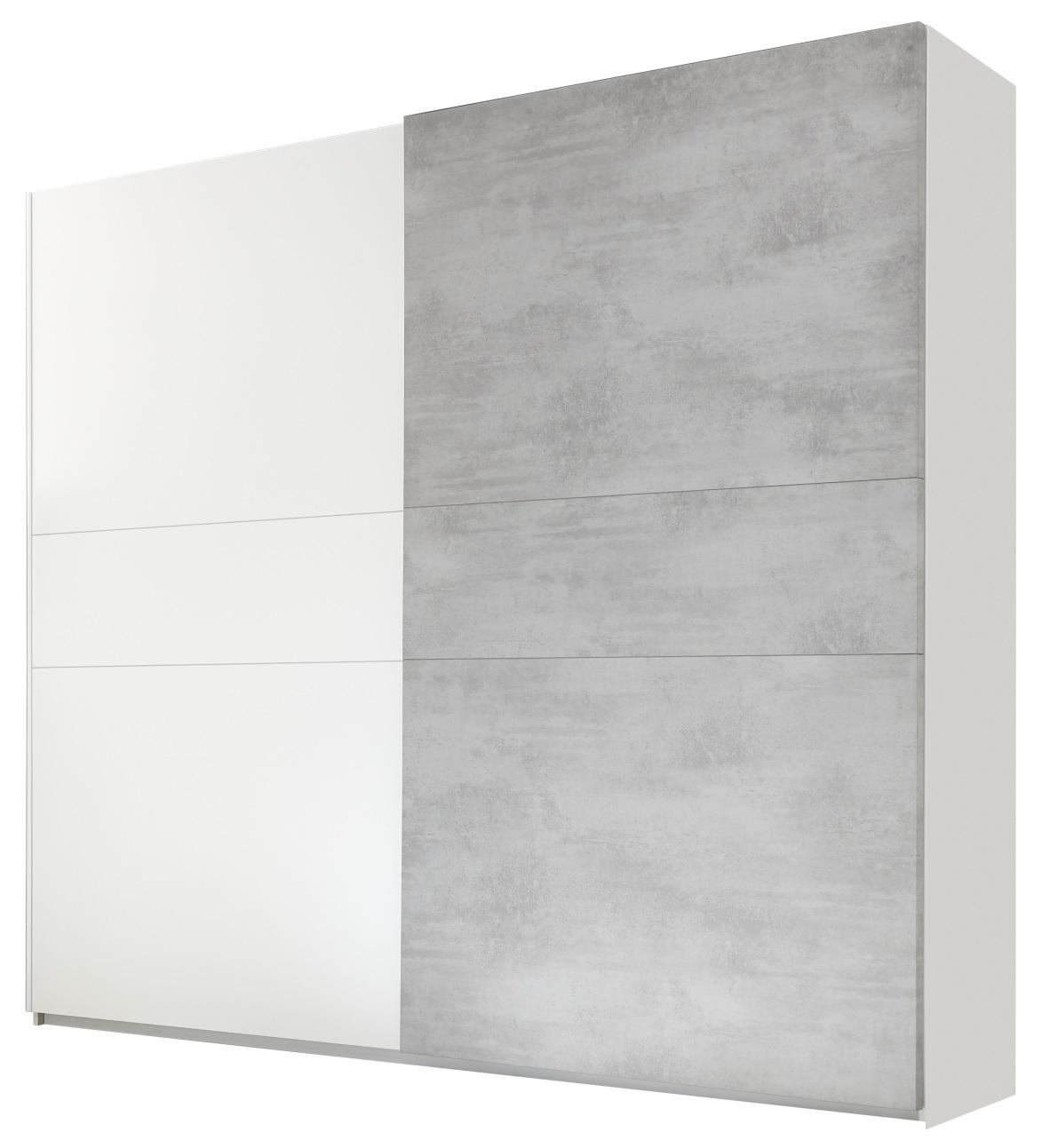 Kledingkast Amalti 220 cm breed in mat wit met grijs beton   Pesaro Mobilia