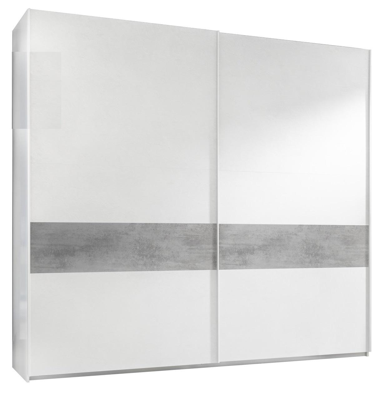 Kledingkast Amalti Alpaca 220 cm breed in mat wit met grijs beton   Pesaro Mobilia