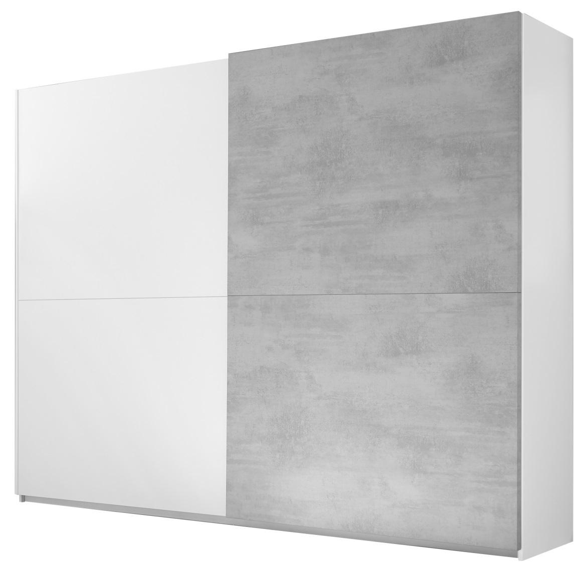 Kledingkast Amalti Full 220 cm breed in mat wit met grijs beton   Pesaro Mobilia