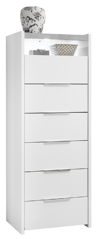 Ladekast Amalti 137 cm hoog in mat wit met grijs beton | Pesaro Mobilia