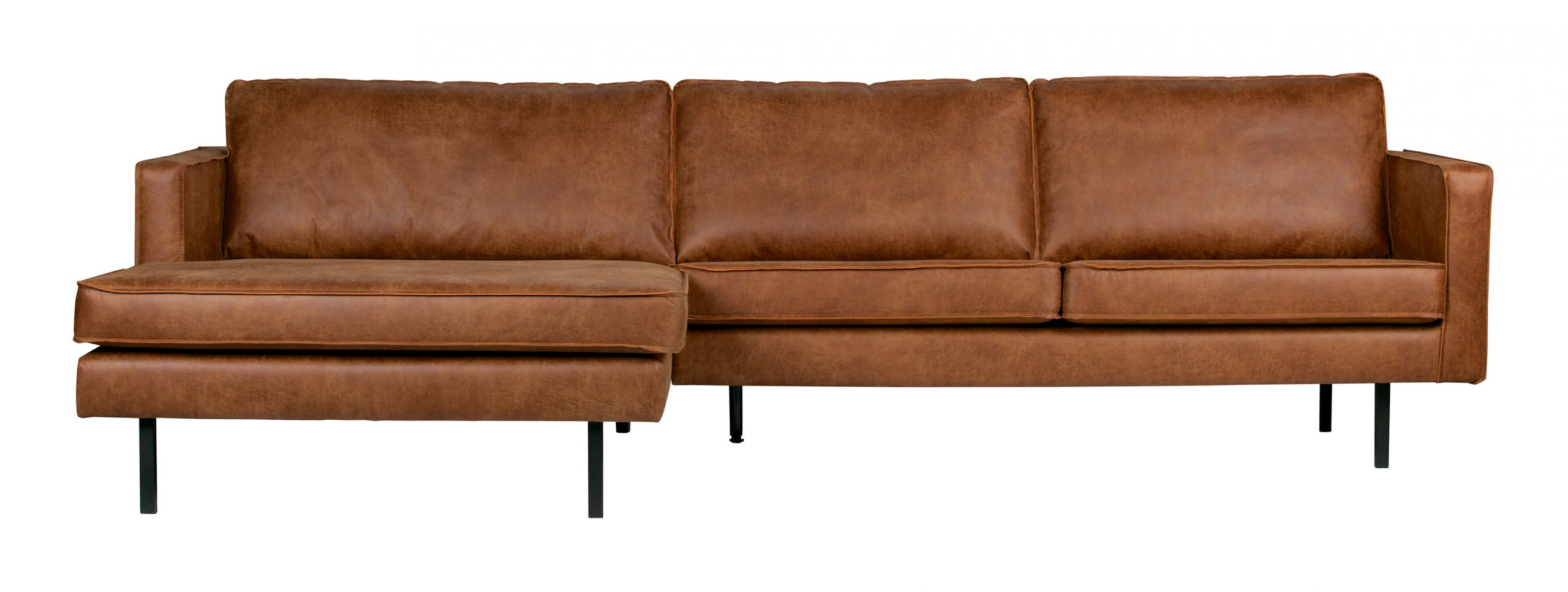 BePureHome Loungebank 'Rodeo' Links, Eco Leder, kleur Cognac | BePureHome