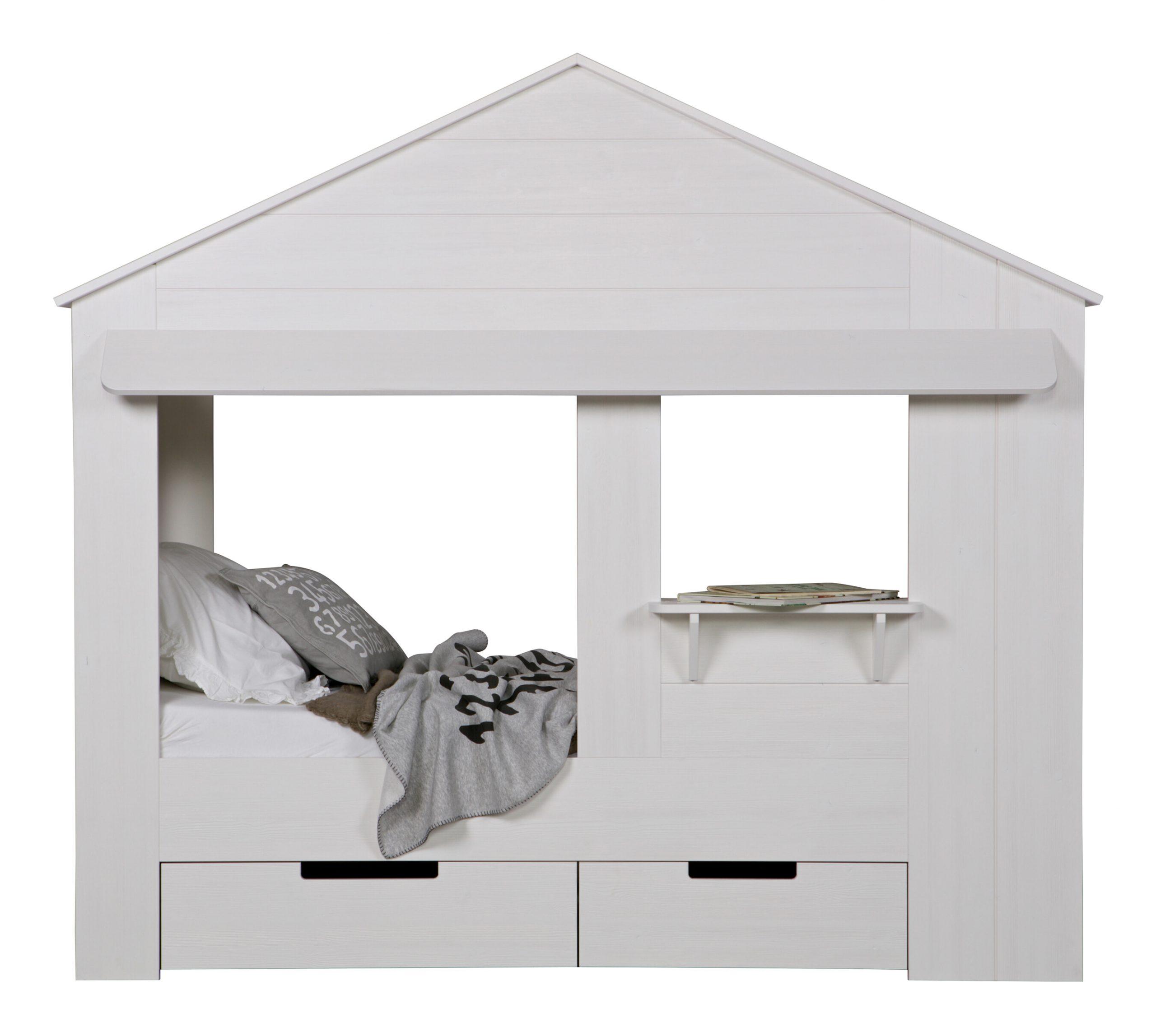 WOOOD Bed 'Huisie', kleur Wit | WOOOD