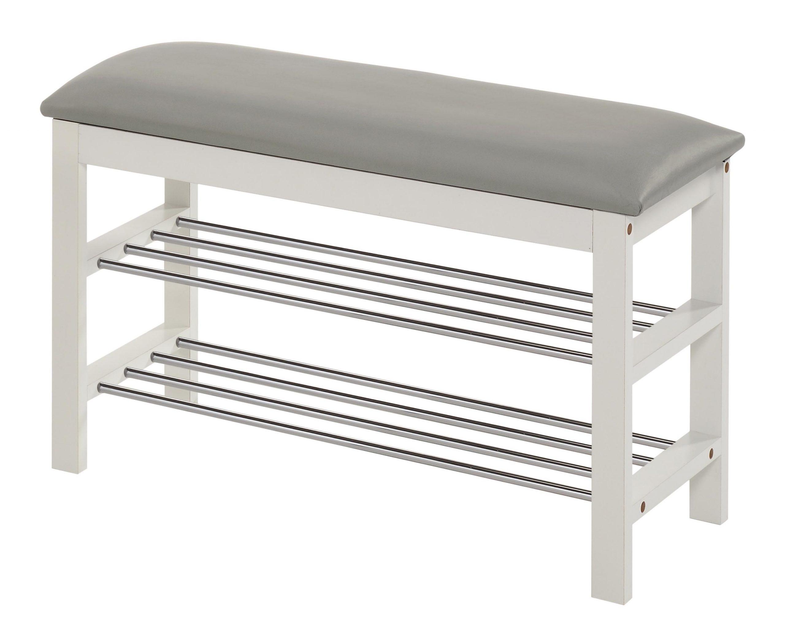Schoenenrek Sera 48 cm hoog in wit met grijs | Home Style