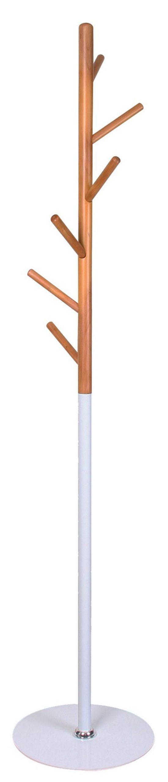 Staande kapstok Izzy 170 cm hoog in wit met beuken | Home Style