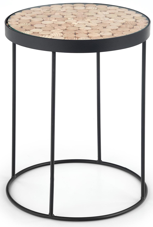 Bijzettafel Naturo 47x61x47 cm breed in natural met zwart | Home Style