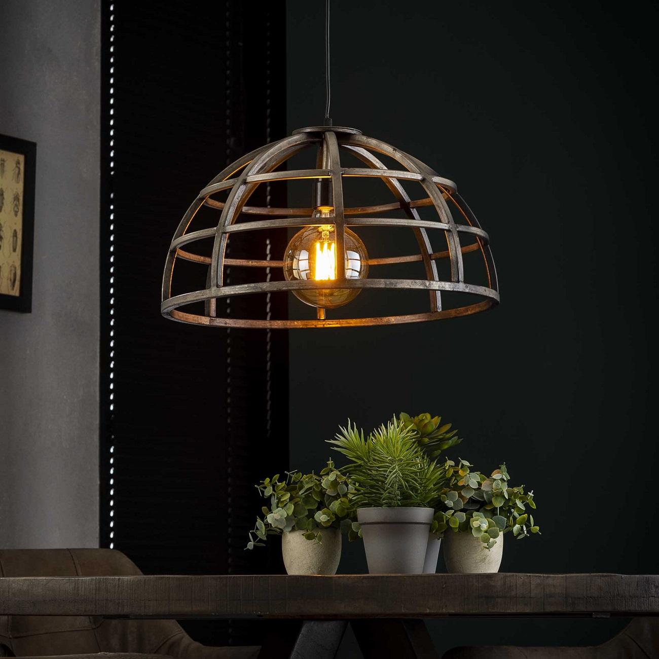 Hanglamp Dome 1xØ50 in Oud zilver   Zaloni