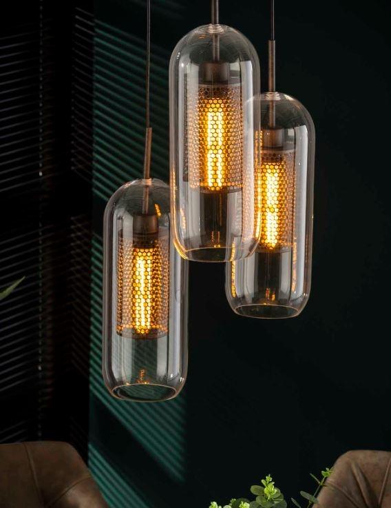 Hanglamp Parker getrapt 150 cm hoog met 3xØ15   Zaloni