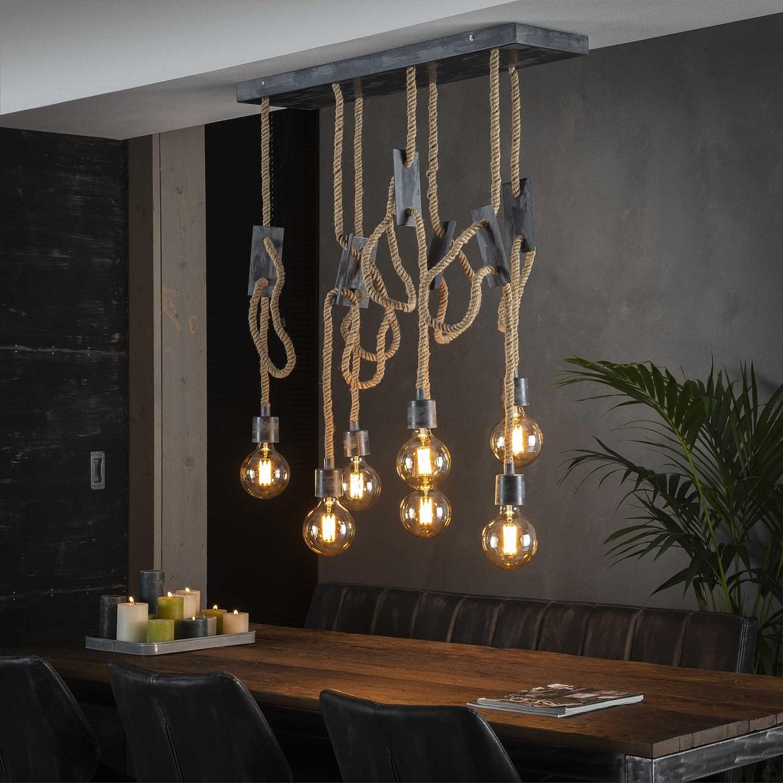 Hanglamp Touw 87 cm breed in grijs | Zaloni