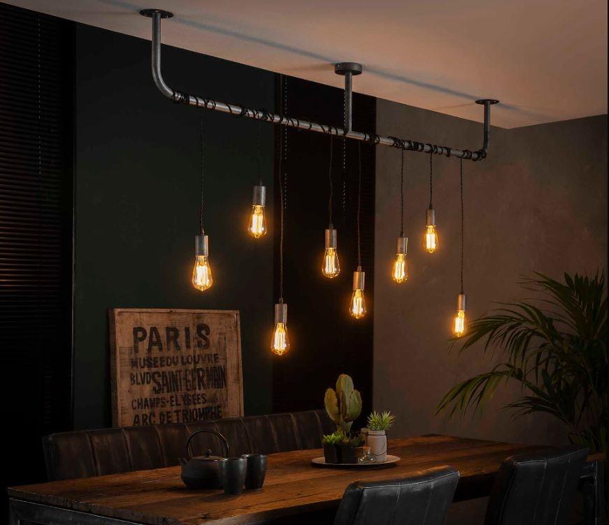 Hanglamp Wikkel 176 cm breed in oud zilver | Zaloni