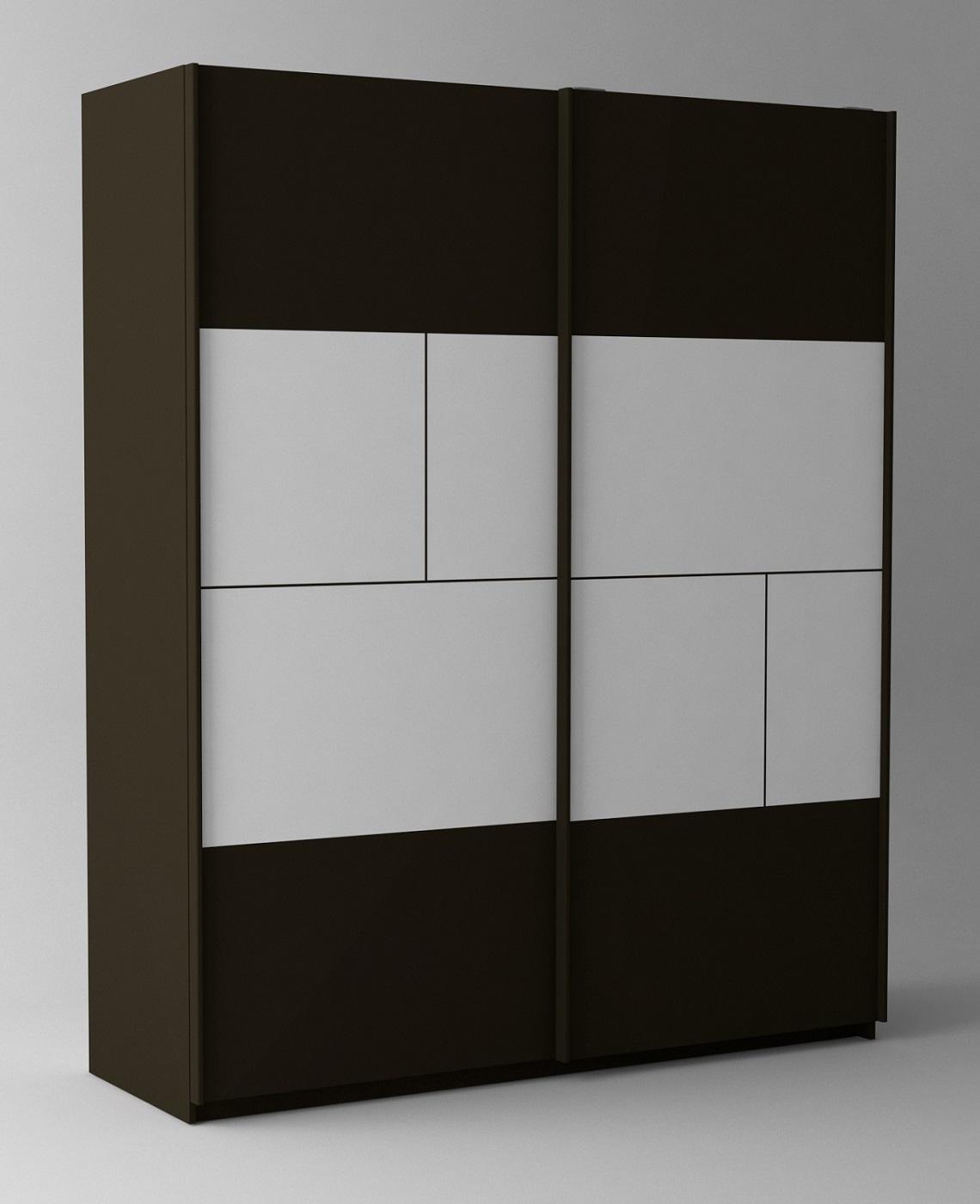 Kledingkast Prado 181 cm breed in hoogglans wit met hoogglans grijs   Ameubelment