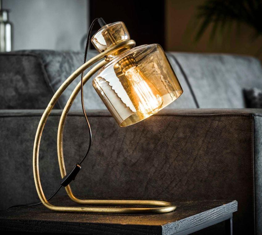 Tafellamp Amber 45 cm hoog in brons antiek | Zaloni