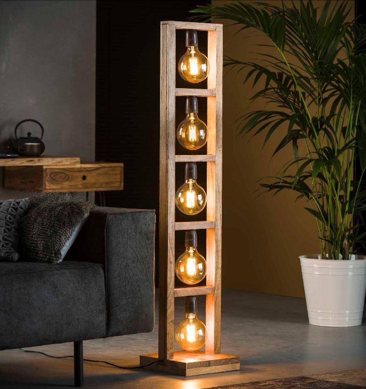 Vloerlamp Modulo 135 cm hoog in acacia naturel | Zaloni