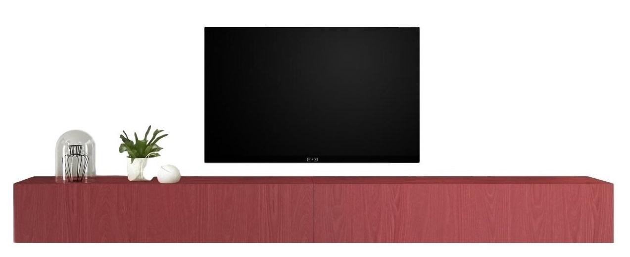 Zwevend Tv-meubel Tesla 276 cm breed in rood | Pesaro Mobilia
