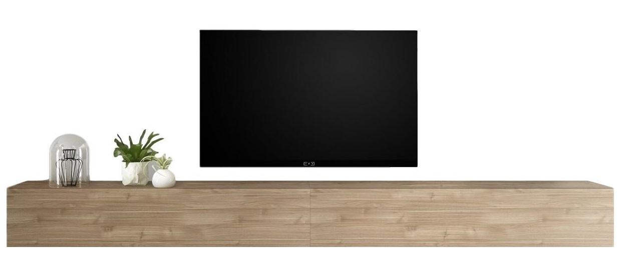 Zwevend Tv-meubel Tesla 276 cm breed in stelvio walnoot | Pesaro Mobilia