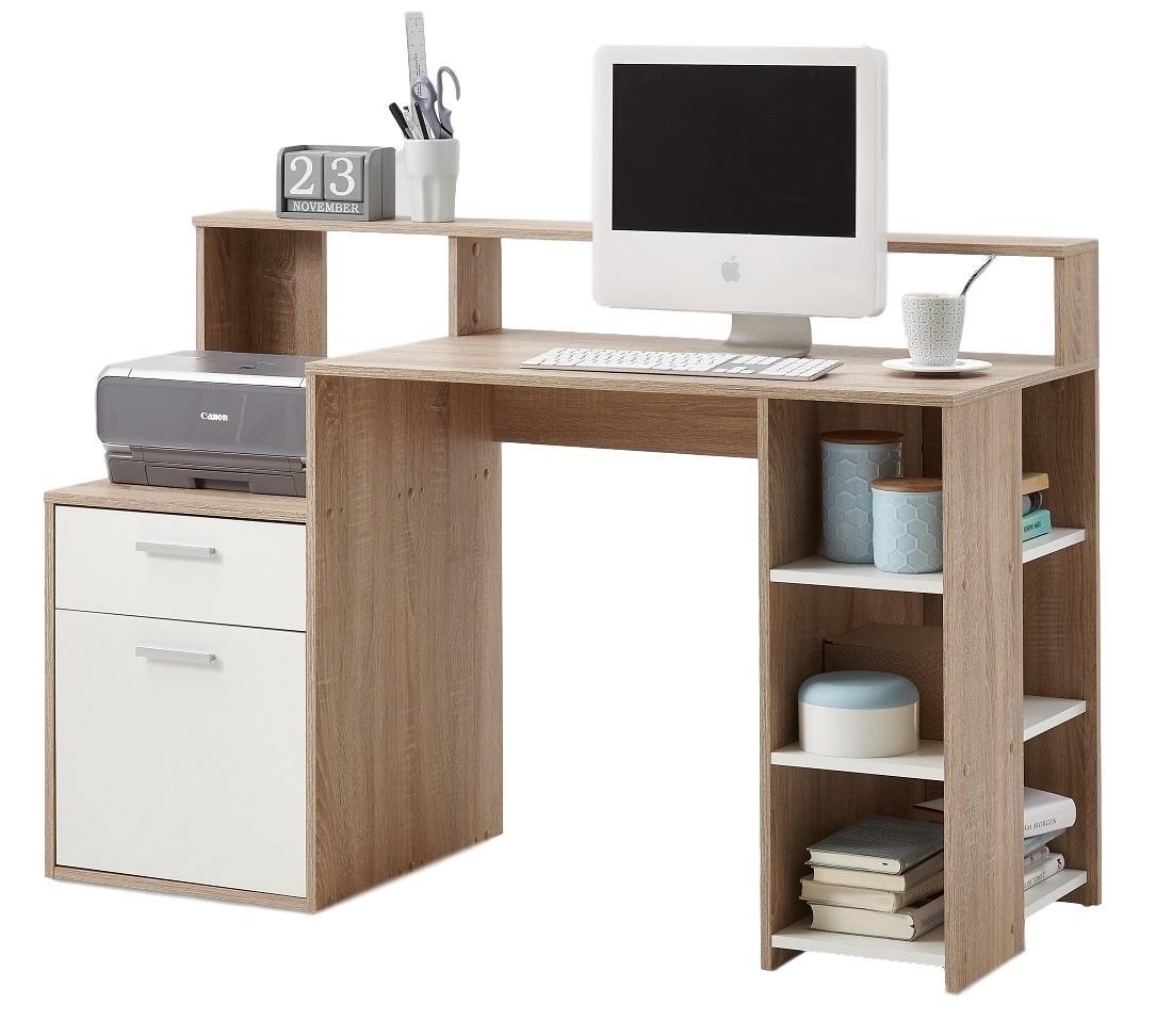 Computer Bureau Balta 138 breed – Eiken met wit | FD Furniture