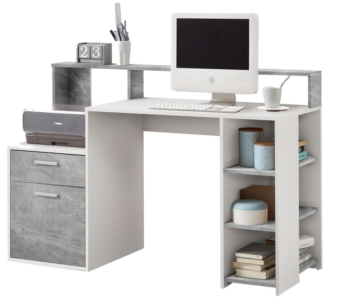 Computer Bureau Balta 138 breed – wit met grijs beton | FD Furniture