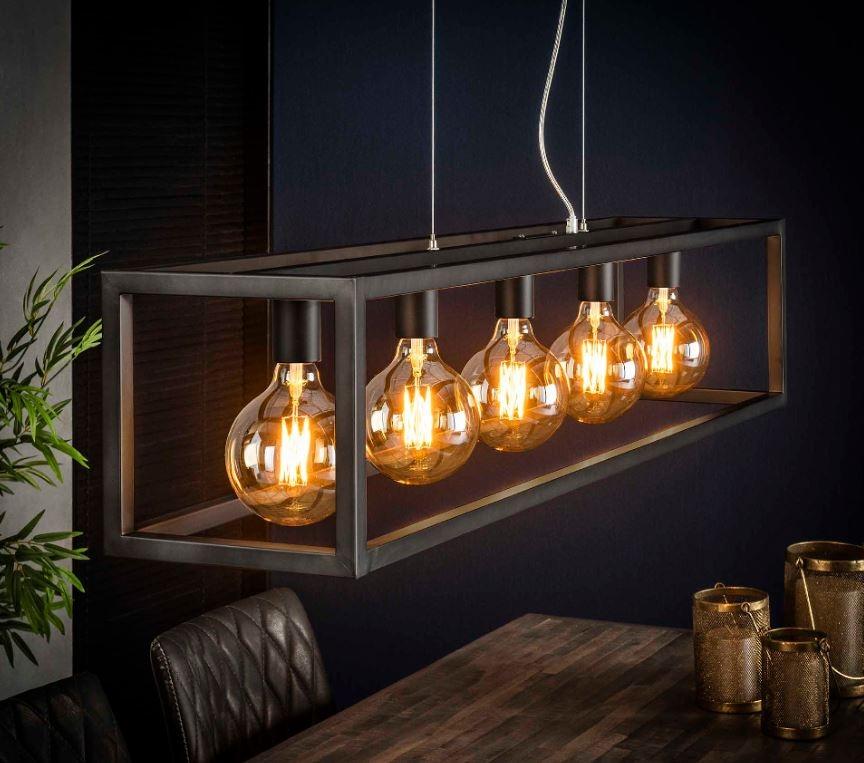 Hanglamp 5L rechthoek 4-kante buis – Zilver   Zaloni