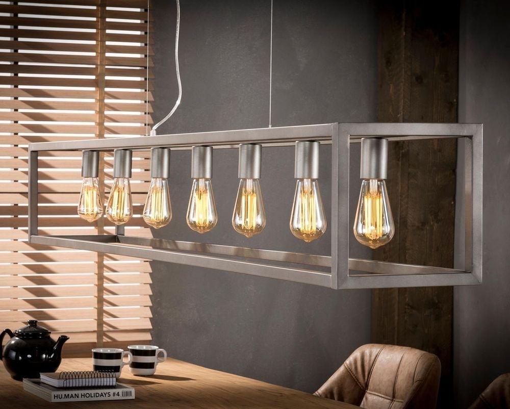 Hanglamp Rechthoek 7L van 170 cm breed – Zilver | Zaloni