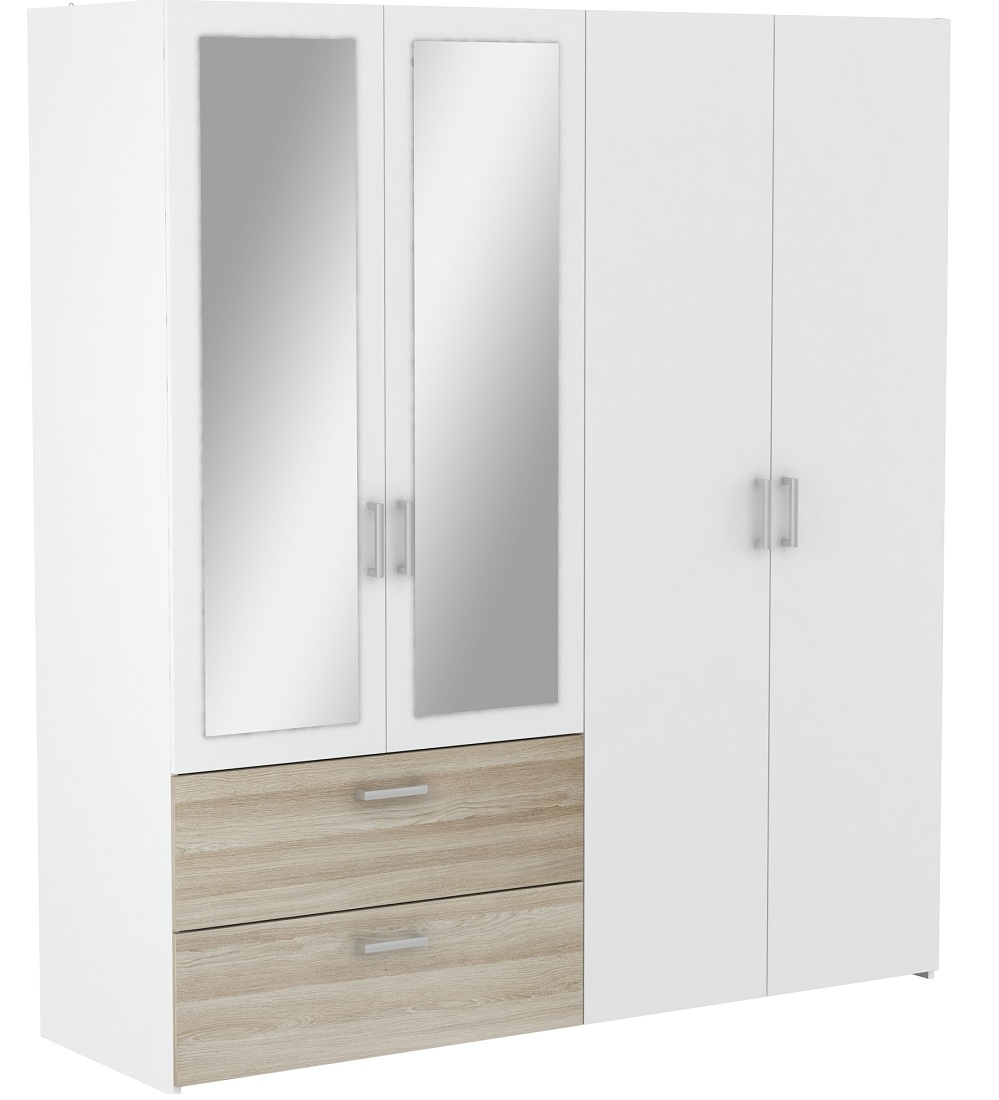 Kledingkast Ready Large 179 cm breed – wit met Shannon eiken | Young Furniture