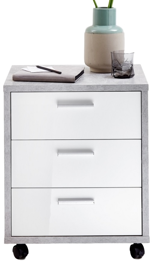 Ladeblok Brick 60 cm hoog – Beton grijs met hoogglans wit | FD Furniture