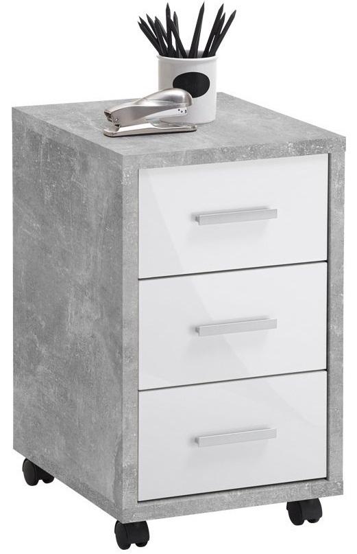 Ladeblok Puma 60 cm hoog – Grijs beton met hoogglans wit | FD Furniture