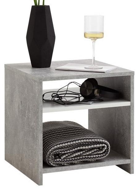 Nachtkastje Lund 40 cm hoog – Grijs beton   FD Furniture
