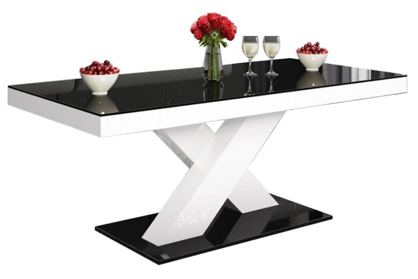 Salontafel Xenon mini 120 cm breed – Hoogglans zwart met wit | Hubertus Meble