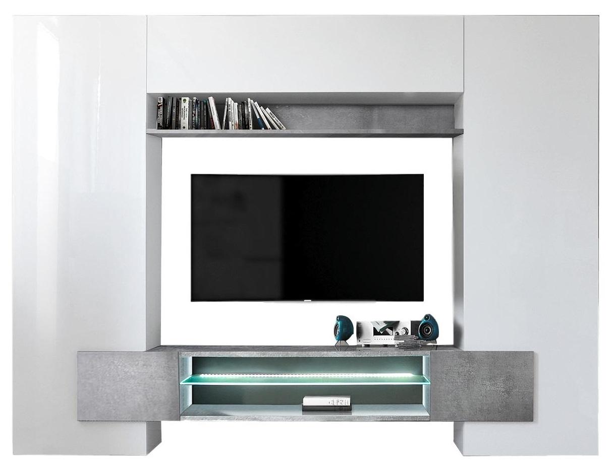 TV-wandmeubel set Incastro 191 cm hoog – Hoogglans wit met grijs beton | Pesaro Mobilia