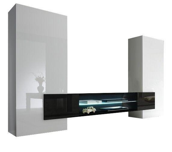 TV-wandmeubel set Incastro 258 cm breed – Hoogglans wit met zwart | Pesaro Mobilia