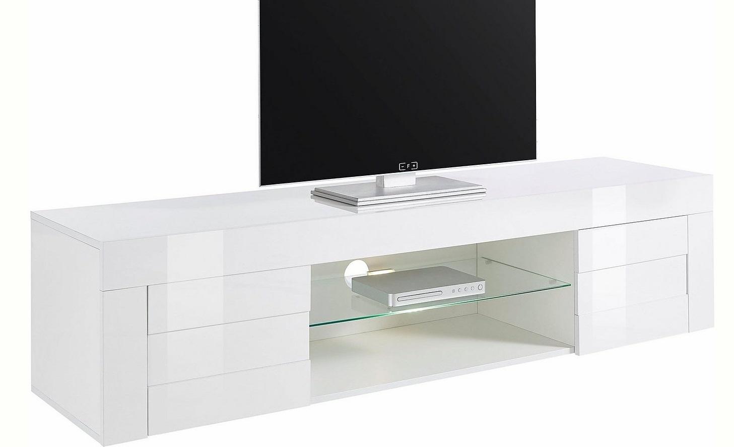 Tv-meubel Easy 181 cm breed – hoogglans wit | Pesaro Mobilia