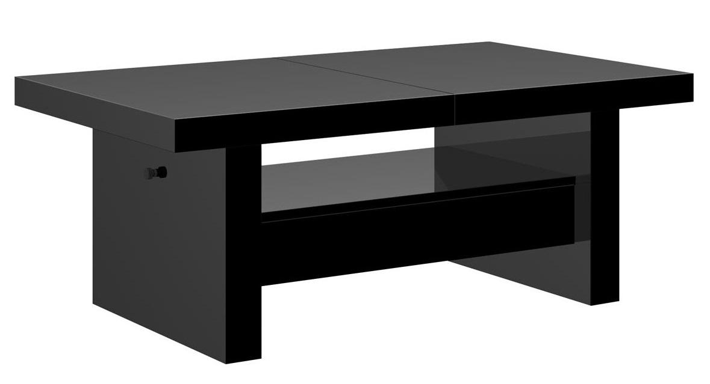 Uitschuifbare salontafel Aversa 120 tot 170 cm breed – Hoogglans zwart | Hubertus Meble