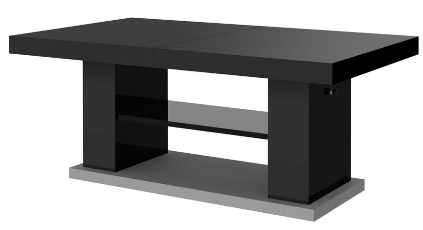 Uitschuifbare salontafel Matera 120 tot 170 cm breed – hoogglans zwart | Hubertus Meble
