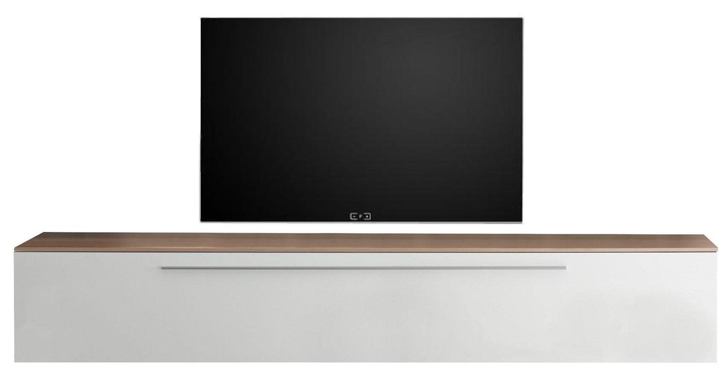 Zwevend Tv-meubel Tesla 210 cm breed in hoogglans wit met stelvio walnoot | Pesaro Mobilia