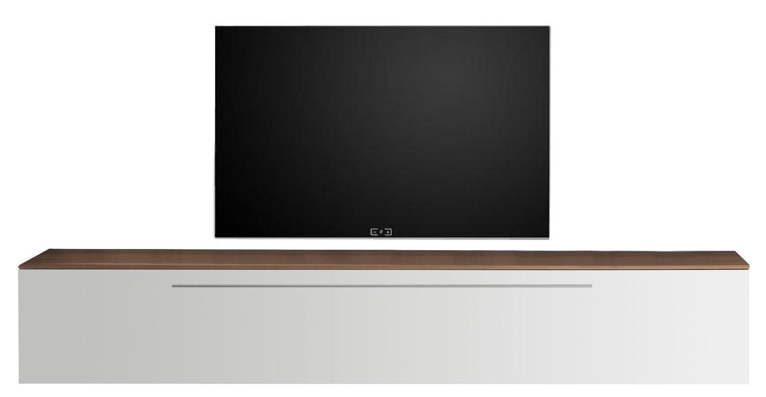 Zwevend Tv-meubel Tesla 210 cm breed in hoogglans wit met walnoot | Pesaro Mobilia