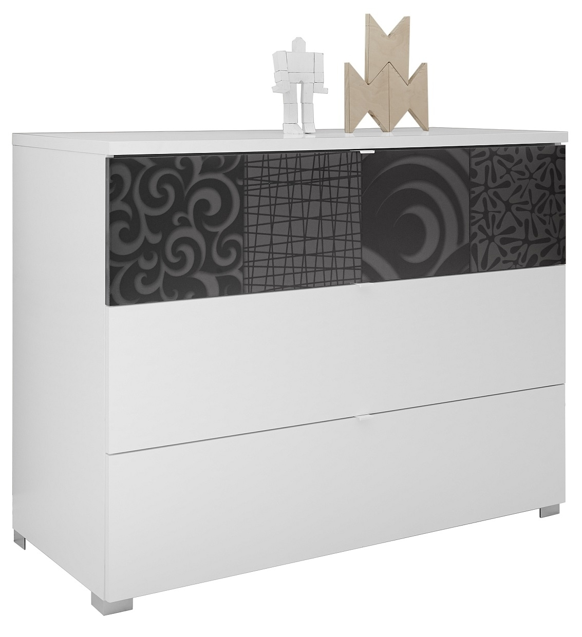 Commode Perez 104 cm breed in mat wit met hoogglans antraciet | Pesaro Mobilia
