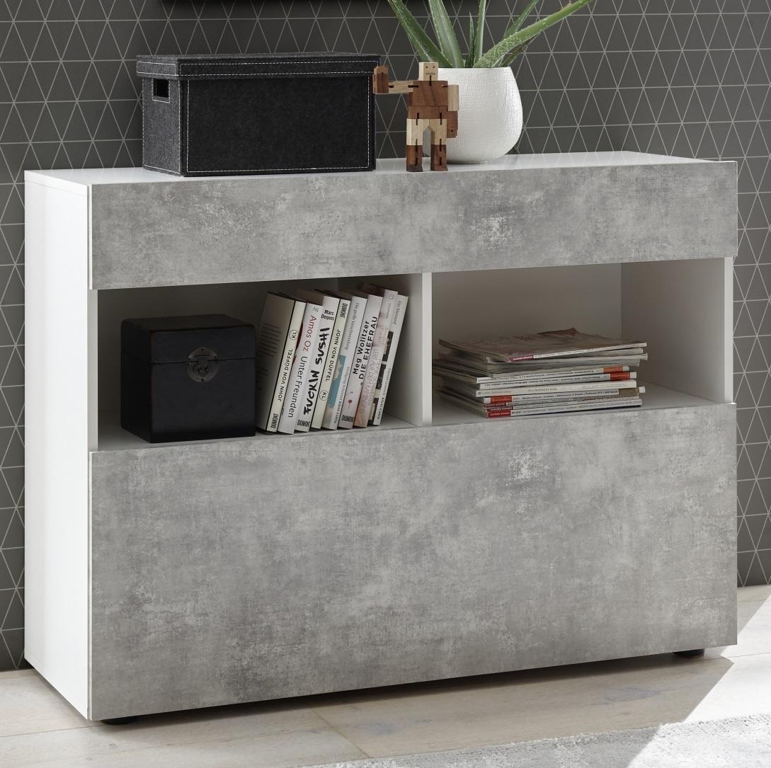 Dressoir Markis 111 cm breed in wit met grijs beton   Pesaro Mobilia