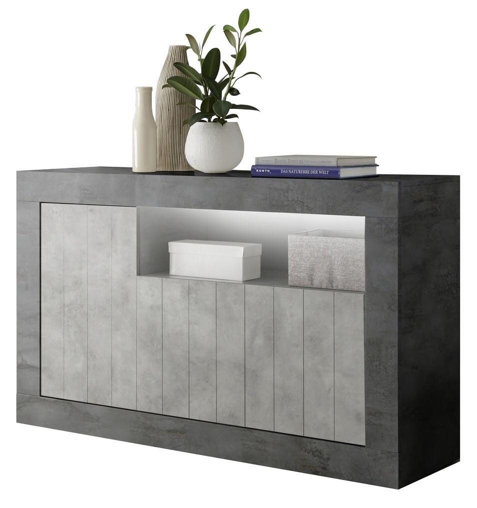 Dressoir Urbino 138 cm breed in Oxid met grijs beton   Pesaro Mobilia