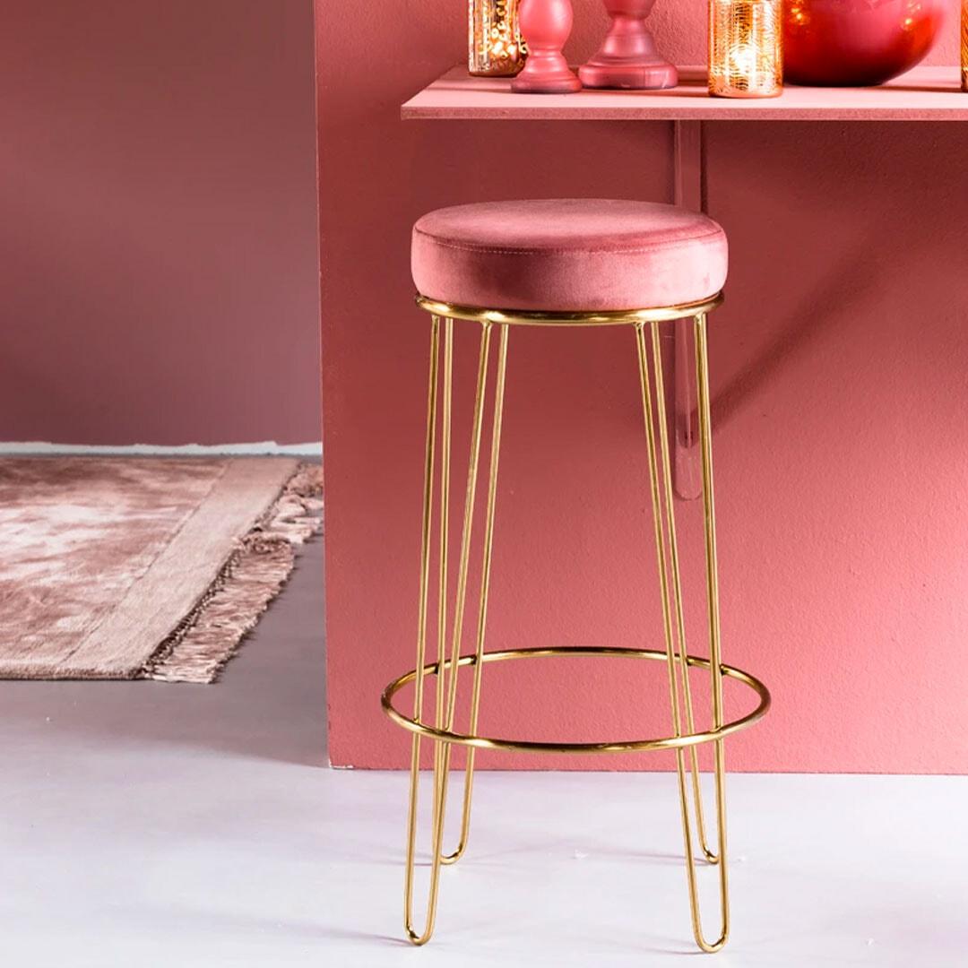 Light & Living Kruk 'Alice', velvet oud roze+goud | Light & Living