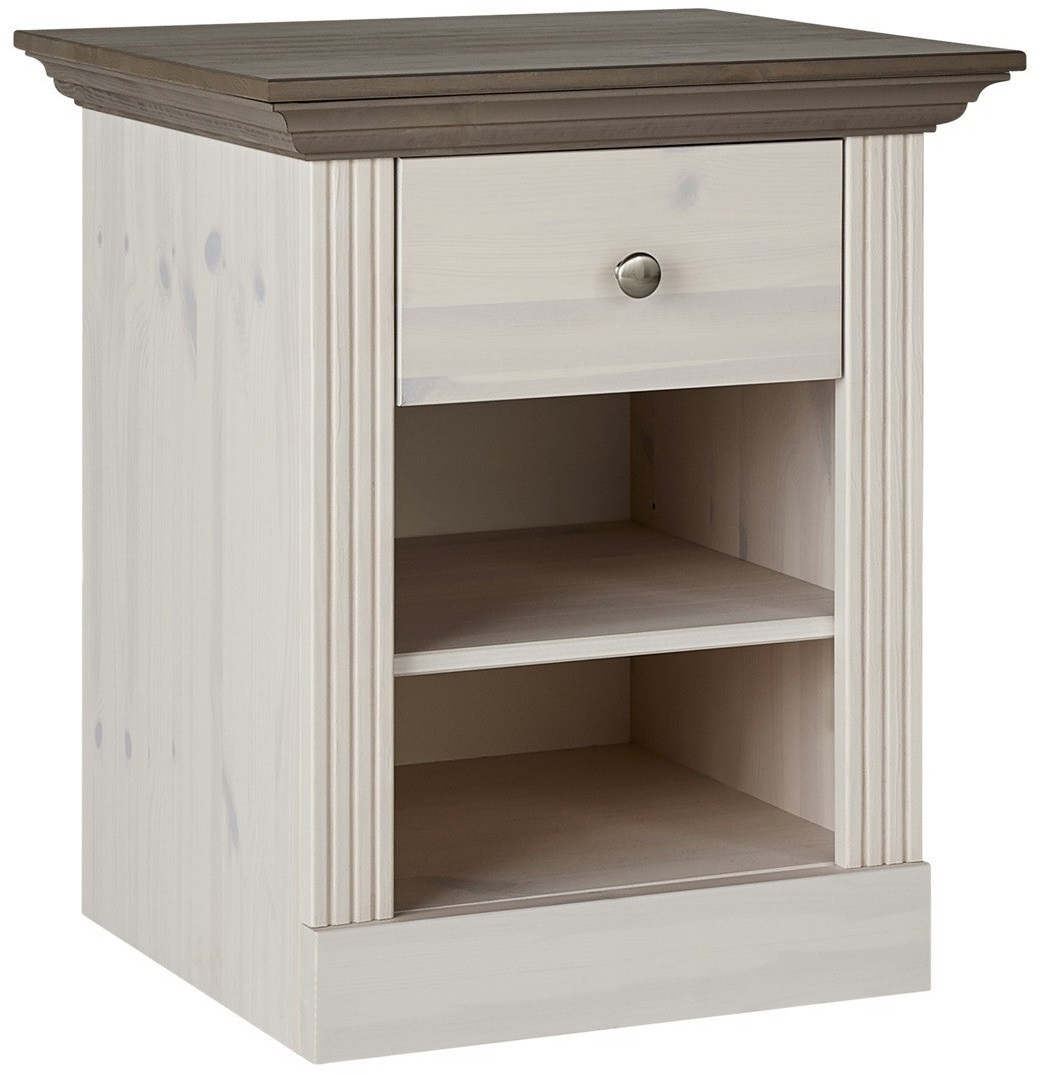 Nachtkastje Monaco 62 cm hoog in wit whitewash met steen | DS Style