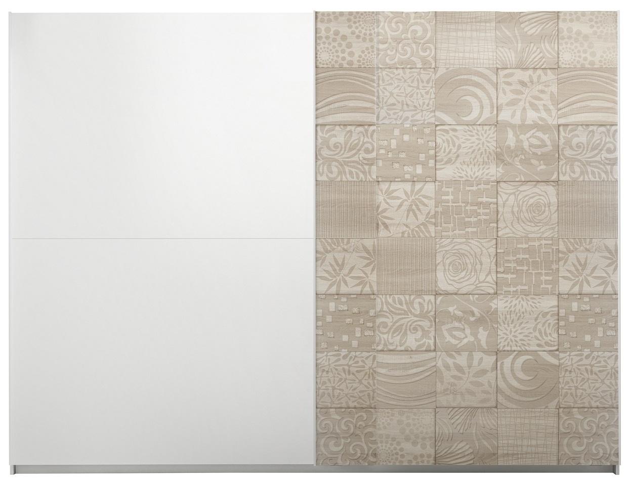 Schuifdeurkast Perez 275 cm breed in mat wit met sonoma eiken | Pesaro Mobilia