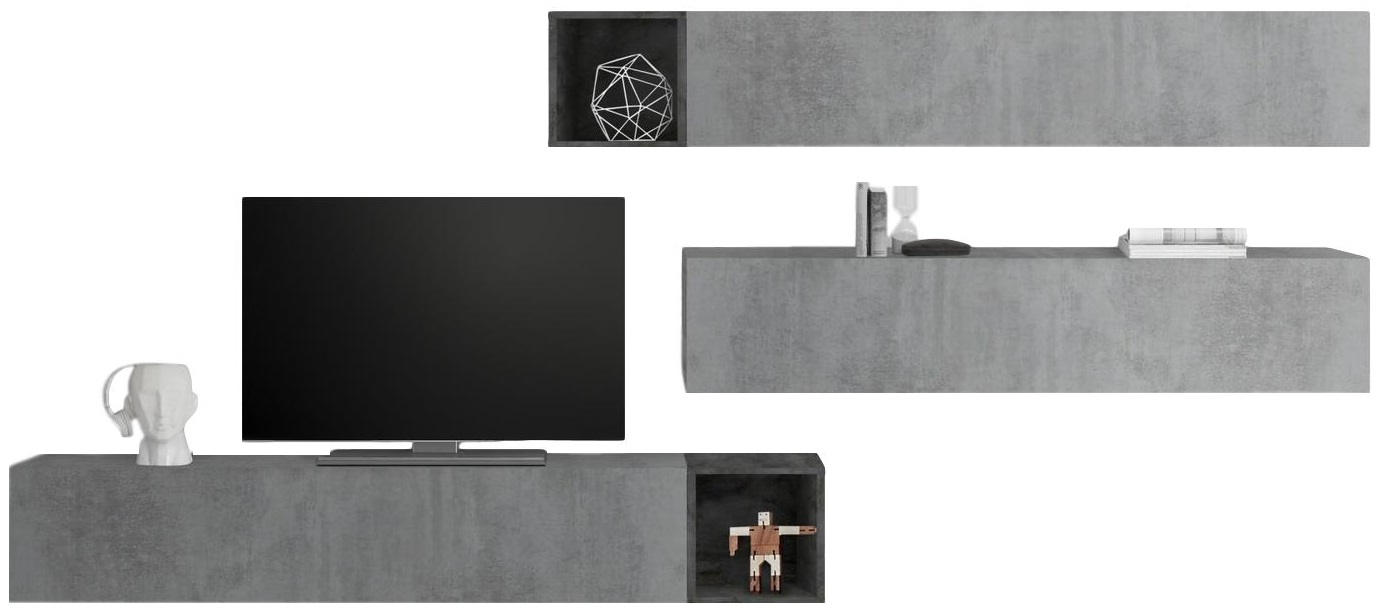 TV-wandmeubel set Balvin in grijs beton met Oxid | Pesaro Mobilia